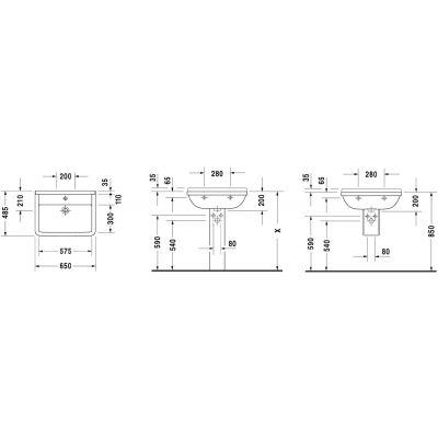Umywalka prostokątna 65x48.5 cm 03006500001 Duravit Starck 3