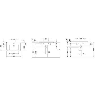 Umywalka prostokątna 85x48.5 cm 03048000001 Duravit Starck 3