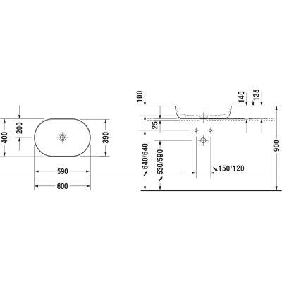 Umywalka owalna 60x40 cm 0379600000 Duravit Luv