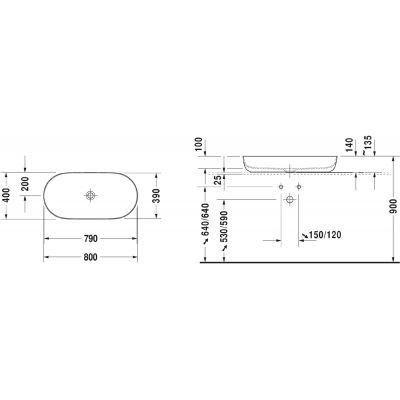 Umywalka owalna 80x40 cm 0379800000 Duravit Luv