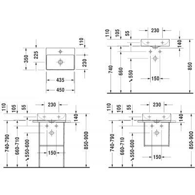 Umywalka prostokątna 45x35 cm 0732450041 Duravit DuraSquare