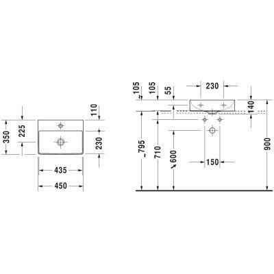 Umywalka prostokątna 45x35 cm 0732450071 Duravit DuraSquare