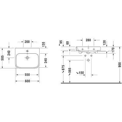 Umywalka prostokątna 60x50.5 cm 2318600027 Duravit Happy D.2