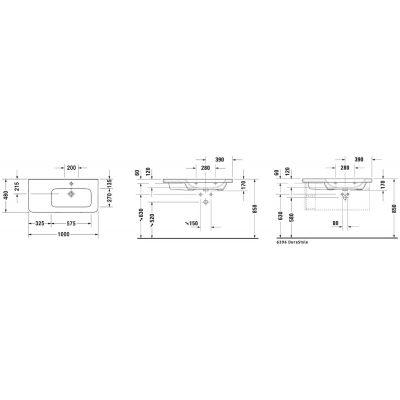 Umywalka prostokątna 100x48 cm 23261000001 Duravit DuraStyle