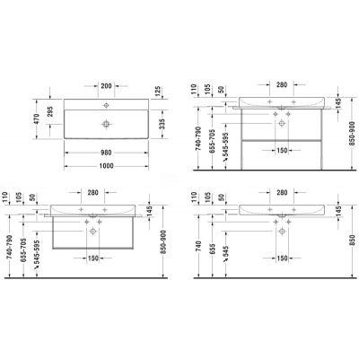 Umywalka prostokątna 100x47 cm 2353100041 Duravit DuraSquare