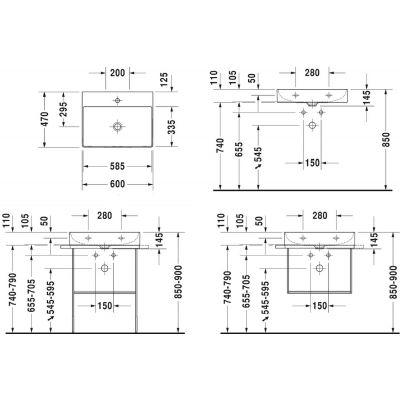 Umywalka prostokątna 60x47 cm 2353600041 Duravit DuraSquare