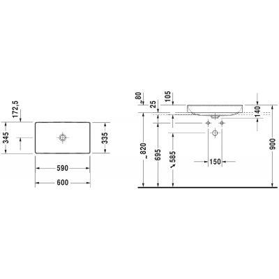 Umywalka prostokątna 60x34.5 cm 2355600000 Duravit DuraSquare