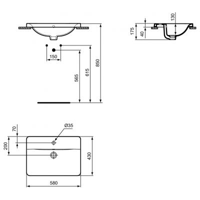 Umywalka prostokątna 58x42 cm E504401 Ideal Standard Connect