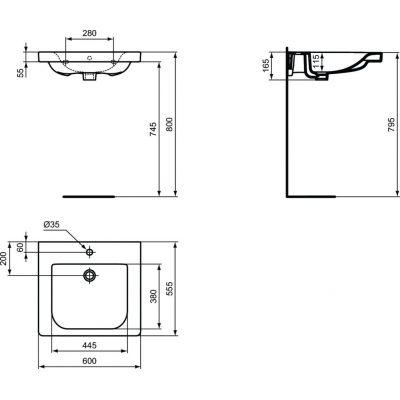 Umywalka prostokątna 60x55 cm E548201 Ideal Standard Connect