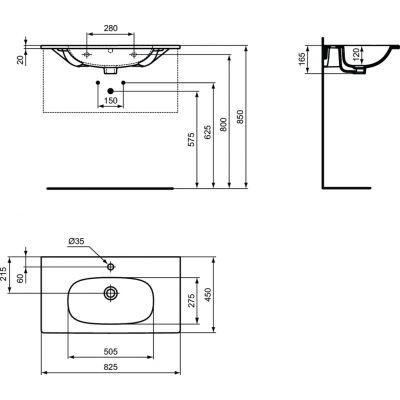 Umywalka prostokątna 82.5x45 cm T350901 Ideal Standard Tesi