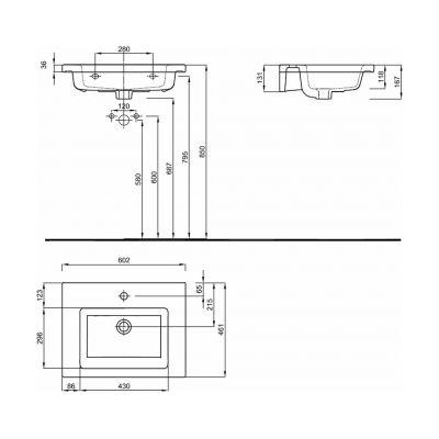 Umywalka prostokątna 60.2x46.1 cm L51960900 Koło Twins
