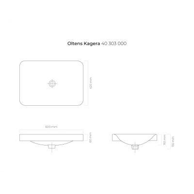 Umywalka prostokątna 60x42 cm 40303000 Oltens Kagera