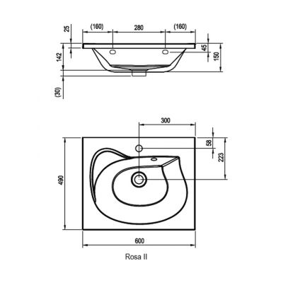Umywalka prostokątna 60x49 cm XJ201160000 Ravak Rosa II