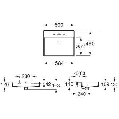 Umywalka prostokątna 60x49 cm A32752C000 Roca Inspira