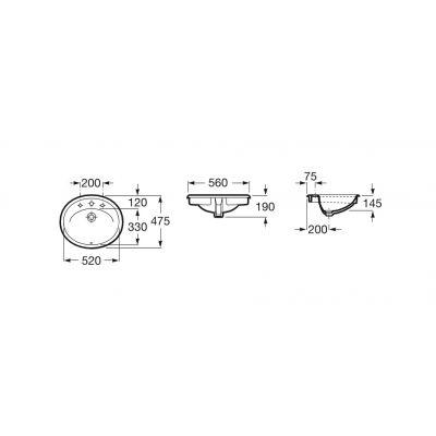 Umywalka blatowa 56x47,5 cm Java Roca A327863000