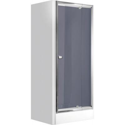 Drzwi wnękowe uchylne 90x185 cm Zoom Deante KDZ 411D profil chrom szkło grafit