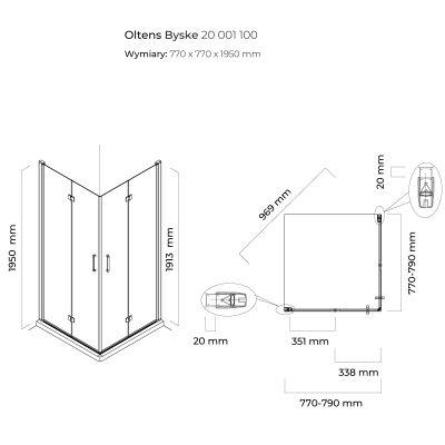 Kabina prysznicowa kwadratowa 80x80 cm 20001100 Oltens Byske