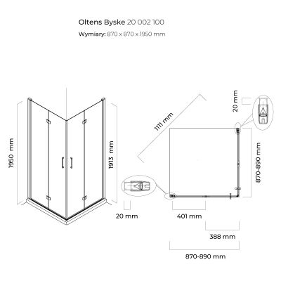 Kabina prysznicowa kwadratowa 90x90 cm 20002100 Oltens Byske