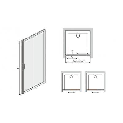 Drzwi prysznicowe 600271112038371 Sanplast TX