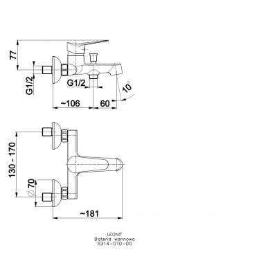 Bateria wannowo-prysznicowa 531401000 KFA Armatura Leonit