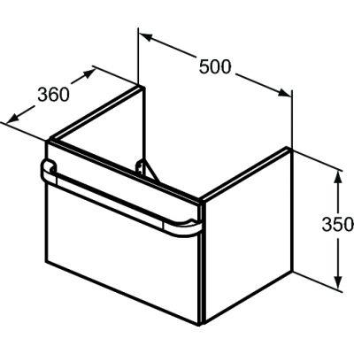 Szafka wisząca podumywalkowa 50x36 cm R4301WG Ideal Standard Tonic II