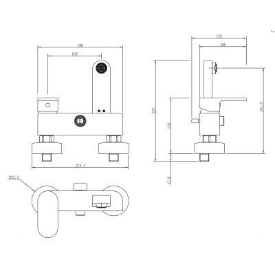 Bateria wannowo-prysznicowa S951304 Cersanit Crea