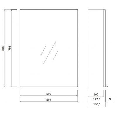 Szafka wisząca boczna 59.5x18 cm S522013 Cersanit Virgo