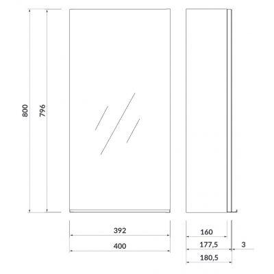 Szafka wisząca boczna 40x18 cm S522009 Cersanit Virgo