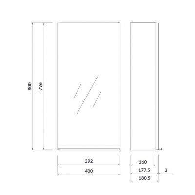 Szafka wisząca boczna 40x18 cm S522010 Cersanit Virgo