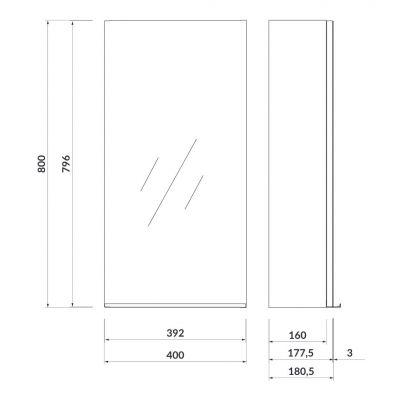 Szafka wisząca boczna 40x18 cm S522011 Cersanit Virgo