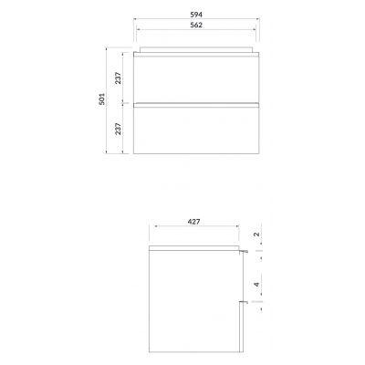 Szafka wisząca podumywalkowa 59.4x42.7 cm S522018 Cersanit Virgo
