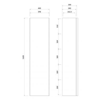 Szafka wisząca boczna 40x30 cm S522033 Cersanit Virgo