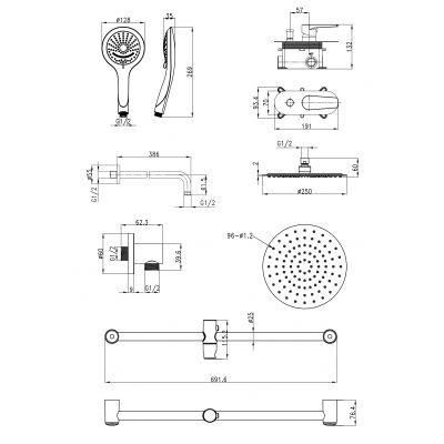 Zestaw prysznicowy S952011 Cersanit Moduo