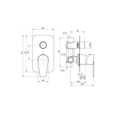 Bateria wannowo-prysznicowa podtynkowa BQG045P Deante Agawa