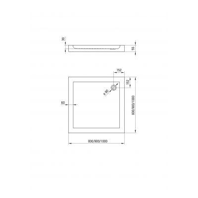 Brodzik kwadratowy 80 KTN042B Deante Minimal