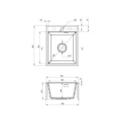 Zlewozmywak granitowy 50x40 cm ZQES104 Deante Eridan