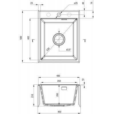 Zlewozmywak granitowy 50x40 cm ZQET104 Deante Eridan