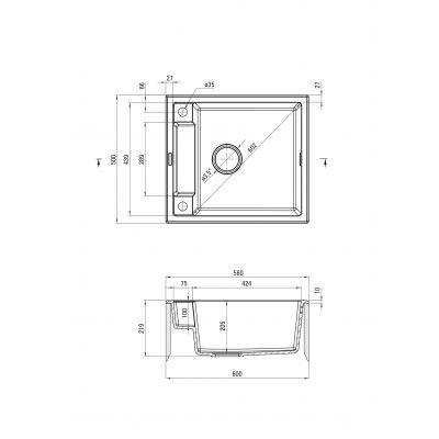 Zlewozmywak granitowy 56x50 cm ZRMA103 Deante Magnetic