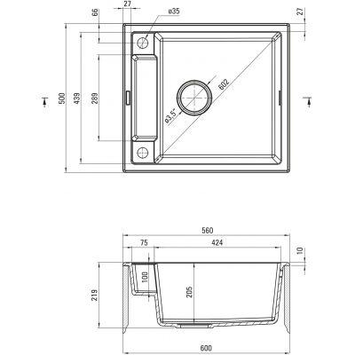 Zlewozmywak granitowy 56x50 cm ZRMG103 Deante Magnetic