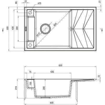 Zlewozmywak granitowy 82x50 cm ZRMS113 Deante Magnetic