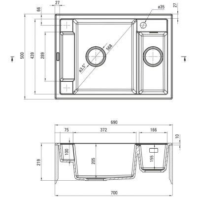 Zlewozmywak granitowy 69x50 cm ZRMS503 Deante Magnetic