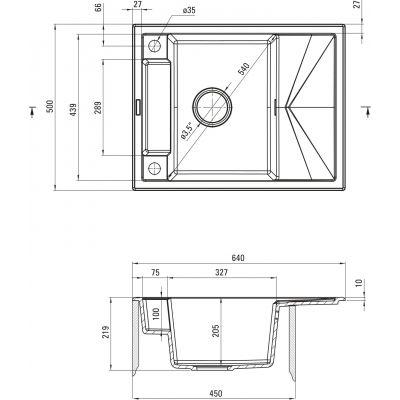 Zlewozmywak granitowy 64x50 cm ZRMT11A Deante Magnetic