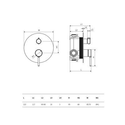 Bateria wannowo-prysznicowa podtynkowa AREX1245CR Excellent Pi