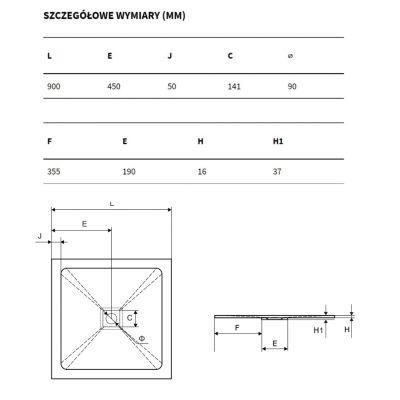 Brodzik kwadratowy 90 BREX1502090090CAN Excellent Arda 90x90