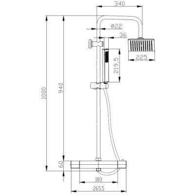 Zestaw prysznicowy AU85001 Invena Svart