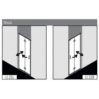 Drzwi prysznicowe składane LI2SR08020VPK Kermi Liga LI 2S