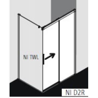 Drzwi prysznicowe rozsuwane NID2R100203PK Kermi Nica czarna NID2R/L