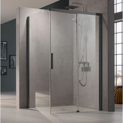 Drzwi prysznicowe rozsuwane NID2R140203PK Kermi Nica czarna NID2R/L