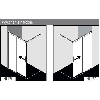 Ścianka prysznicowa walk-in 110 cm NIJ2L110203PK Kermi Nica NI J2