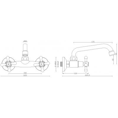 Bateria umywalkowa ścienna BKI550D Kuchinox Stilo